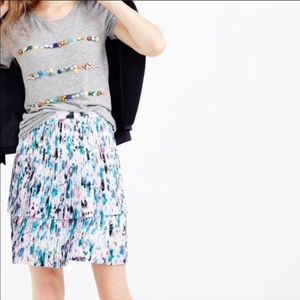 J. Crew Pleated Watercolor Print Tiered Skirt
